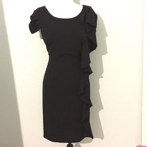 Calvin Klein Black Ruffled Sheath Cocktail Dress